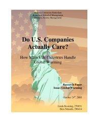 Do U.S. Companies Actually Care? - ERIM