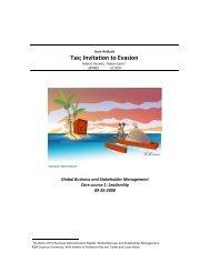 Tax; Invitation to Evasion - ERIM