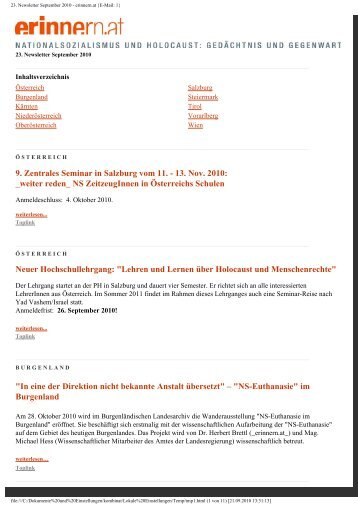 23. Newsletter September 2010 - erinnern.at {E-Mail: 1}