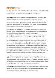 Kurzbiographien der Referentinnen und Referenten ... - Erinnern
