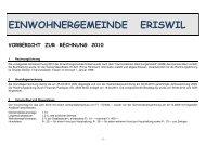 Vorbericht zur Jahresrechnung 2010 - Eriswil