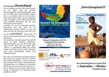 """""""Entwicklungsland D"""" 15. September– 5. Oktober"""