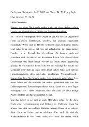 Heiliger Abend, 24.12.2012, 22.30 Uhr, Pfarrer Dr. Wolfgang Leyk ...