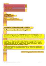 Fragebogen zur Erstellung eines Tagebuchs im ... - Asbh Potsdam