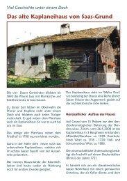 Das alte Kaplaneihaus von Saas-Grund - Erlebnisbank.ch