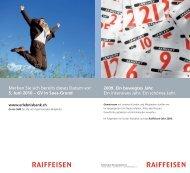 2009. Ein bewegtes Jahr. Ein intensives Jahr. Ein ... - Erlebnisbank.ch