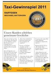 Taxi-Gewinnspiel 2011 - Erlebnisbank.ch