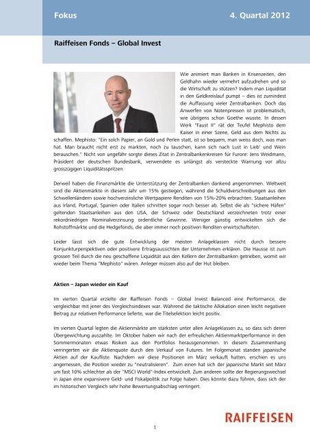 Fokus 4. Quartal 2012 - Erlebnisbank.ch