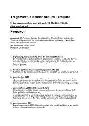 Trägerverein Erlebnisraum Tafeljura Protokoll