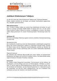 Jubiläumsprogramm 2013 - Erlebnisraum Tafeljura