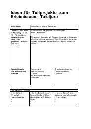 Ideen für Teilprojekte zum Erlebnisraum Tafeljura