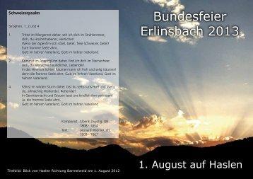 Programm Bundesfeier 2013 - Gemeinde Erlinsbach SO