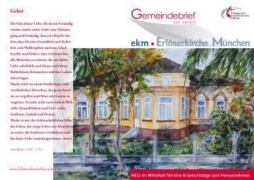 Gemeindebrief Juni - Juli 2010 - EMK Erlöserkirche München ...