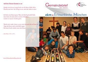 Gemeindebrief April - Mai 2011 - EMK Erlöserkirche München ...