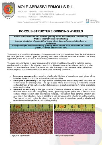 Porous-structure grinding wheels - Mole Abrasivi Ermoli