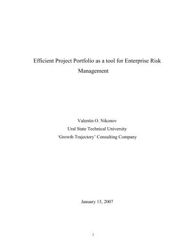 Efficient Project Portfolio as a tool for Enterprise ... - ERM Symposium