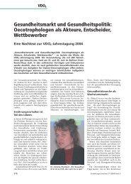 Gesundheitsmarkt und Gesundheitspolitik: Oecotrophologen als ...