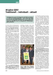40 Jahre GDV! Traditionell – individuell – aktuell
