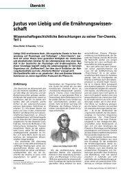 Übersicht Justus von Liebig und die Ernährungswissen- schaft ...