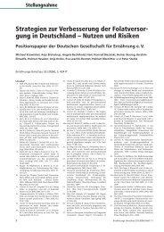 Strategien zur Verbesserung der Folatversor- gung in Deutschland ...