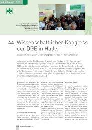 44. Wissenschaftlicher Kongress der DGE in Halle
