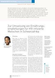 Zur Umsetzung von Ernährungs- empfehlungen für HIV-infizierte ...