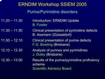 ERNDIM Workshop Programme SSIEM 2005