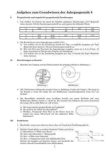 Aufgaben zum Grundwissen der Jahrgangsstufe 8
