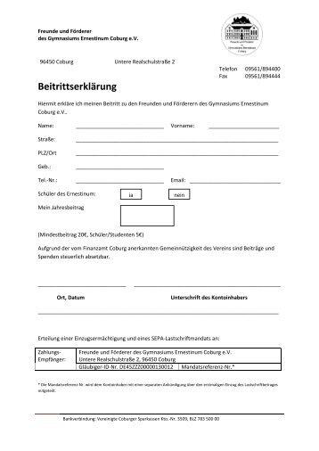 Beitrittserklärung - Gymnasium Ernestinum