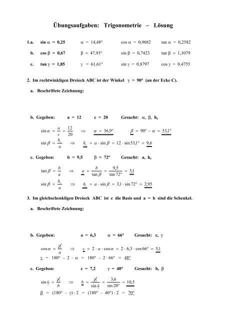 Trigonometrie Lösungen