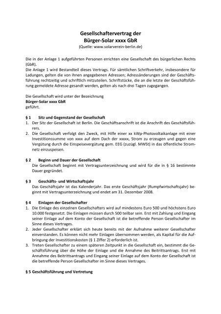 Muster Eines Gbr Vertrages Erneuerbar