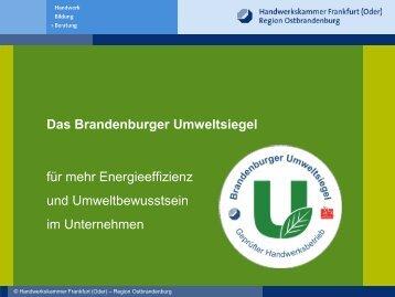 Das Brandenburger Umweltsiegel Henrik Klohs ... - ERNEUER:BAR