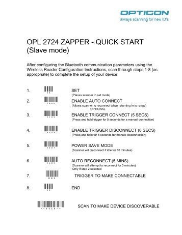 OPL 2724 ZAPPER - QUICK START (Slave mode)