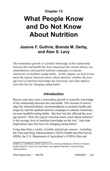 What People Know and Do Not Know About Nutrition - Economic ...