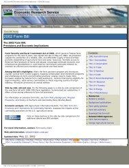 The 2002 Farm Bill - Economic Research Service