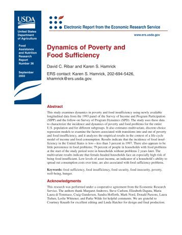 Dynamics of Poverty and Food Insufficiency - Economic Research ...