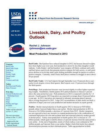 Livestock, Dairy, and Poultry Outlook: November 2012 - Economic ...