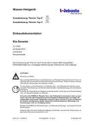 Wasser-Heizgerät Einbaudokumentation Kia Sorento - Ersatzteilbox