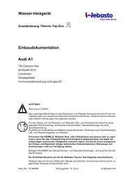 Wasser-Heizgerät Einbaudokumentation Audi A1 - Ersatzteilbox