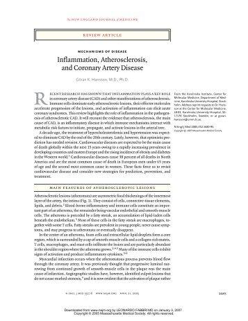 Inflammation, Atherosclerosis, and Coronary Artery Disease