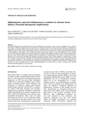 Inflammatory and anti-inflammatory cytokines in chronic heart failure ...