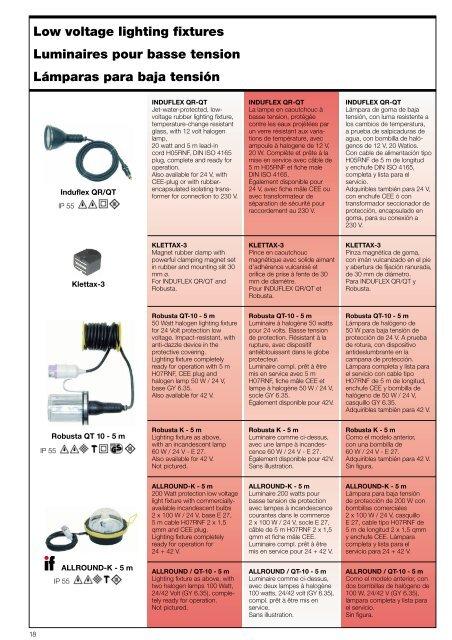 Accesorios y lámparas para baja tensión - ERSO-indulux