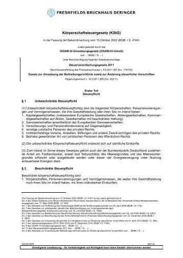 Körperschaftsteuergesetz (KStG) - Ertragsteuerrecht.de
