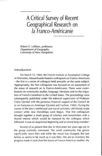 A Critical Survey of Recent Geographical Research on la Franco ...
