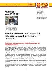 Aktuelles Vom 17.10.2011 ASB-RV NORD OST ev unterstützt ...