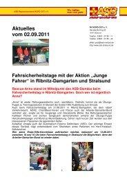 """Aktuelles vom 02.09.2011 Fahrsicherheitstage mit der Aktion """"Junge"""