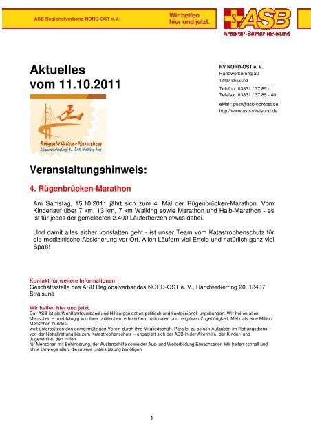 Aktuelles vom 11.10.2011 Veranstaltungshinweis - ASB RV NORD ...