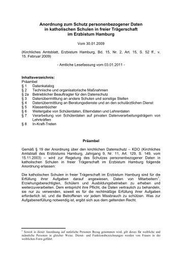 Anordnung zum Schutz personenbezogener Daten - Erzbistum ...