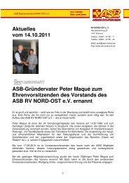 Aktuelles vom 14.10.2011 Asb-Gründervater Peter Maqué zum