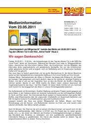 Medieninformation Vom 23.05.2011 - ASB RV NORD-OST ev